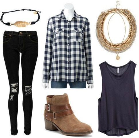 Plaid shirt tank ripped jeans look