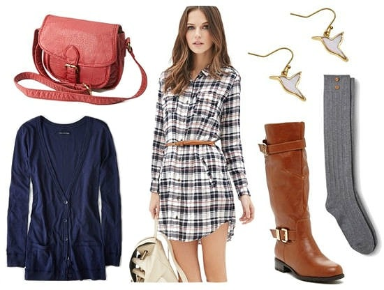 Plaid shirtdress cognac boots blue cardigan outfit