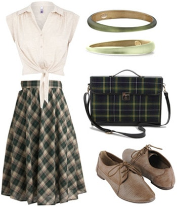 How to wear a plaid midi skirt with a tied-up top and oxfords