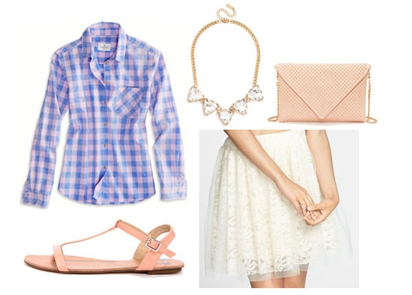 tulle skirt and plaid shirt