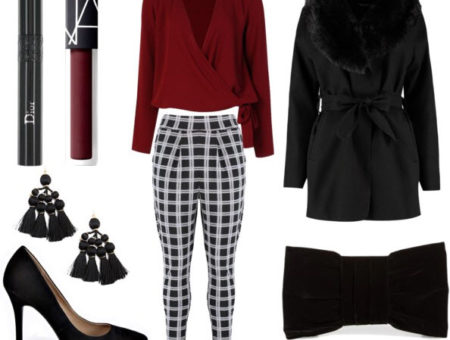 Plaid pants going out set with black jacket, black pointy heels, black earrings, burgundy lipstick, black mascara, burgundy shirt, and bow tie clutch.