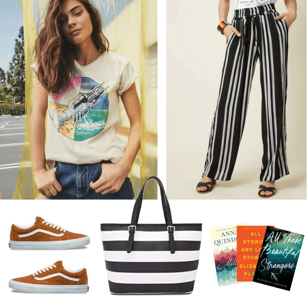 Pairing Stripes With Stripes: Retro Pink Floyd Shirt; Striped Palazzo Pants; Large Striped Tote; Golden Yellow Suede Vans; Books for your Flight