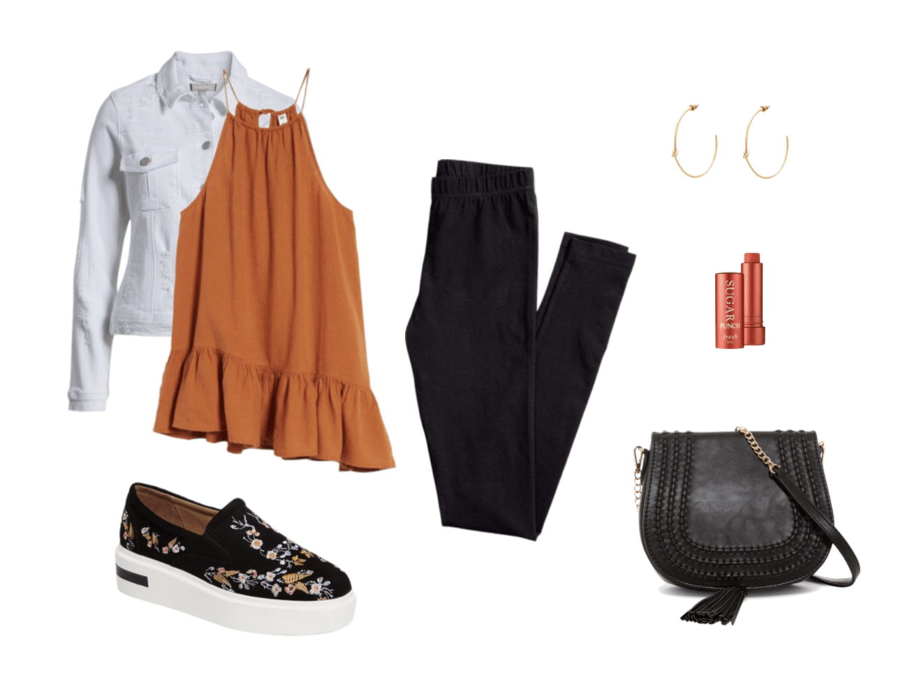 Platform sneakers outfit: Black skinny pants, orange ruffle top, white denim jacket, lip balm, hoop earrings