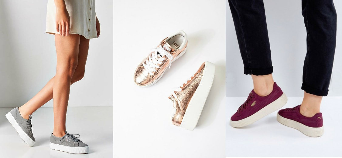 Platform sneakers trend (photos from left-to-right): grey platform sneakers with white soles from Urban Outfitters, metallic rosegold lace-up sneakers from Free People, and burgundy wine Puma sneakers from ASOS.