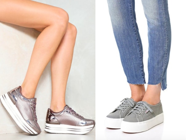 Platform sneakers shopping guide: on the left, metallic blush platform lace-up sneakers from Nasty Gal. On the right, grey canvas Superga platform sneakers from Shopbop.