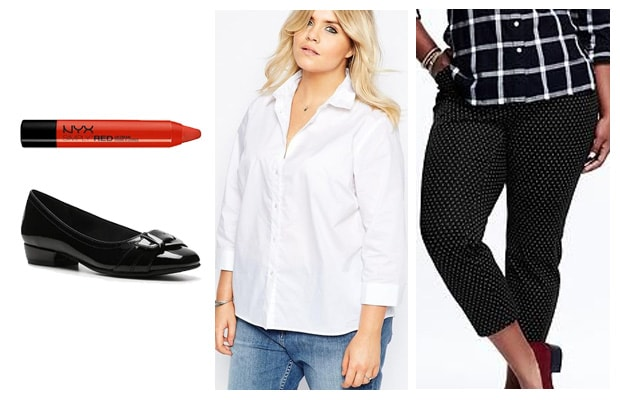 Plus size business casual pattern pants outfit