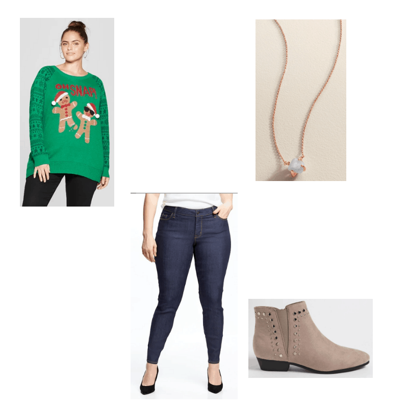 Plus-Size outfit with green gingerbread sweater, jeans, studded ankle boots, and quartz necklace