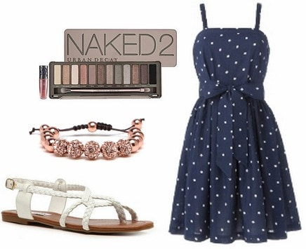 Plus size fashion navy dress and sandals