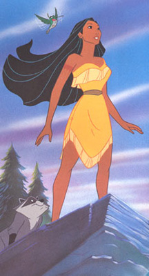 Disney's Pocahontas standing on a cliff