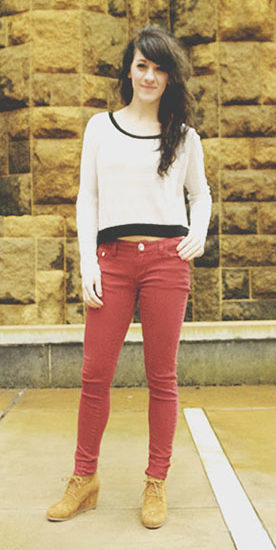 Point Park University street style - red jeans