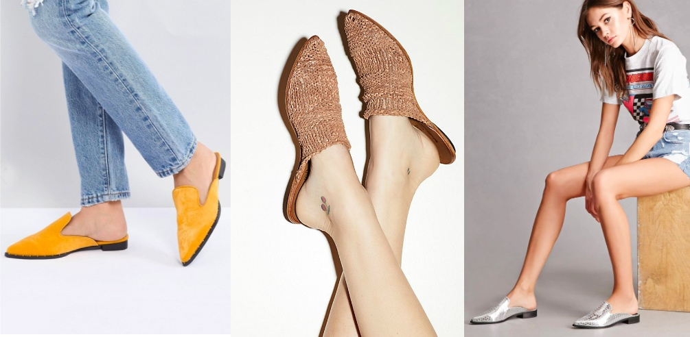 Pointed toe flat mule trend (from left to right): mustard loafter-style western mules from ASOS, brown woven knit mules from Free People, and silver slip-ons from Forever 21.