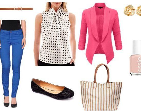 polka dot blouse class look