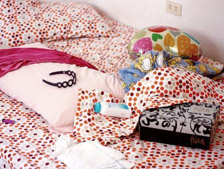 Polka dot dorm room bedding
