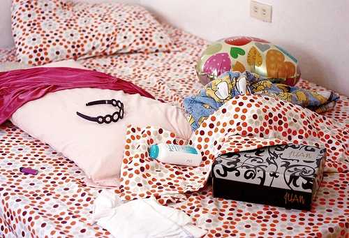 Polka dot dorm room bedding