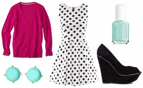Polka dot dress, fuchsia cardigan, wedges