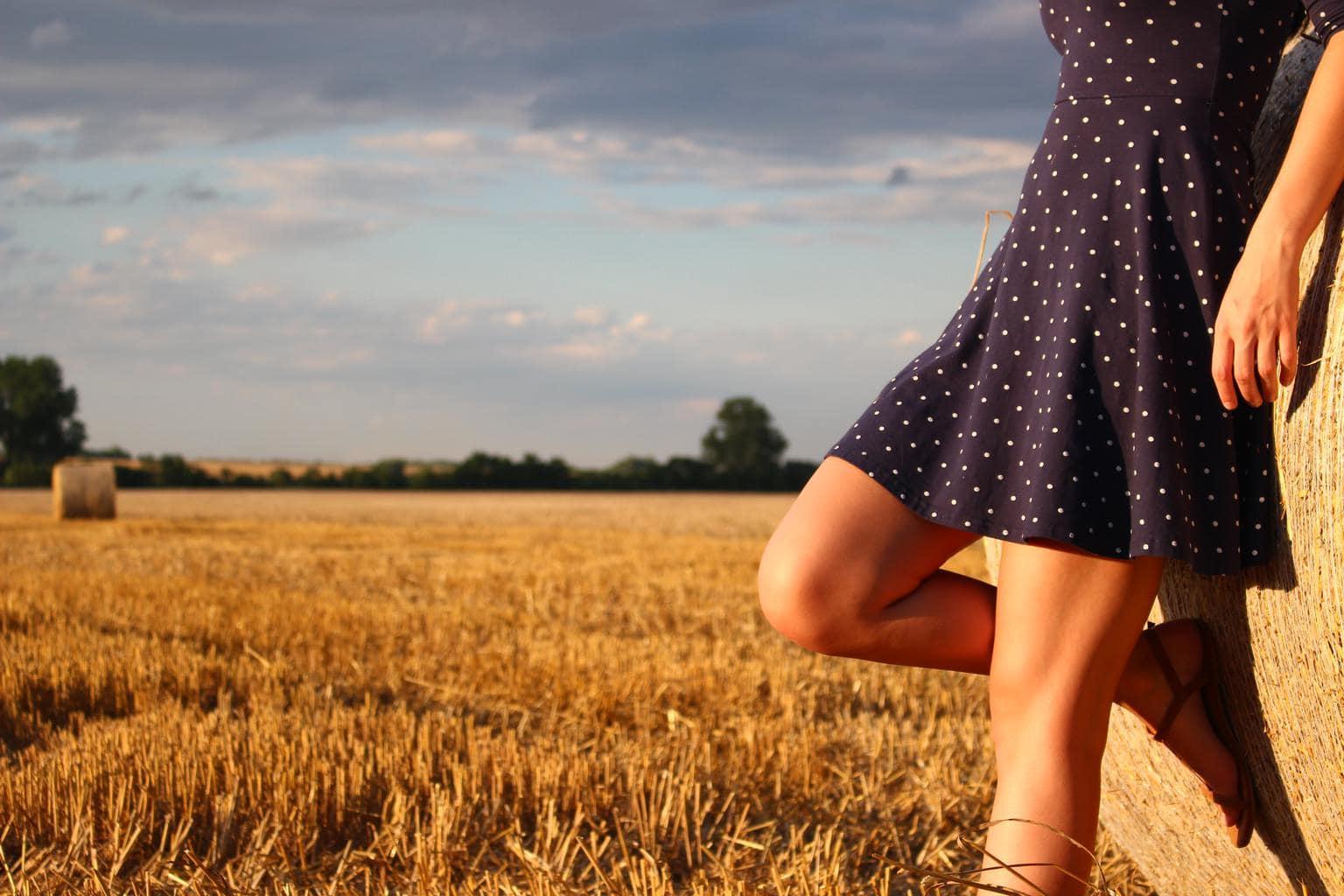 Girl wearing a polka dot dress