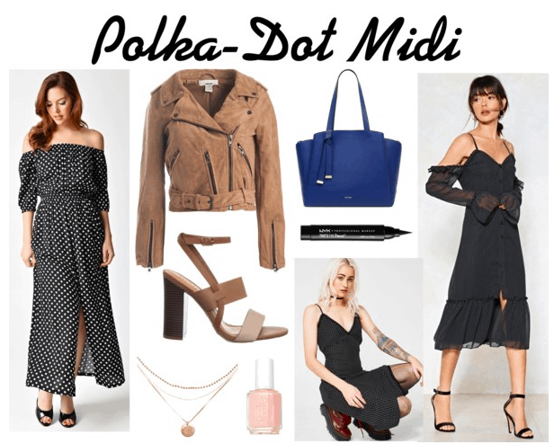 2 Polka Dot Midi Dresses, suede jacket, block heels, 3-strand necklace, pink nail polish, blue tote, eyeliner