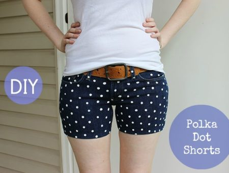 Polka dot shorts diy