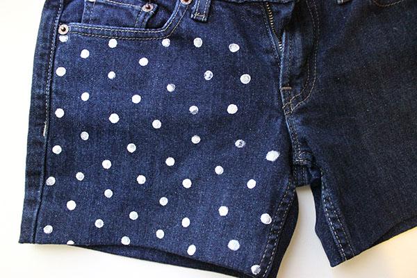 Polka dot shorts step two