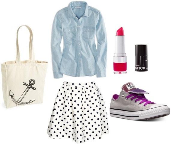Polka dot skirt, chambray top, converse