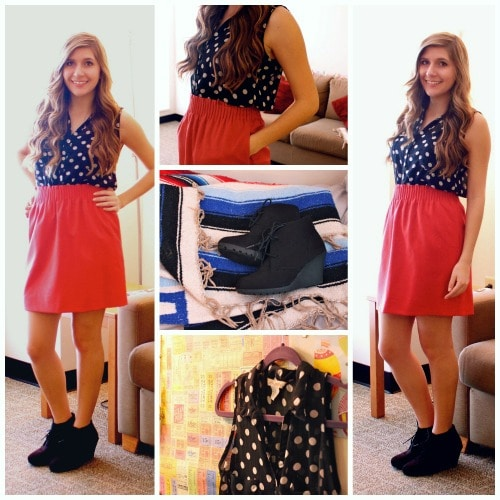 Polka dot top red skirt booties