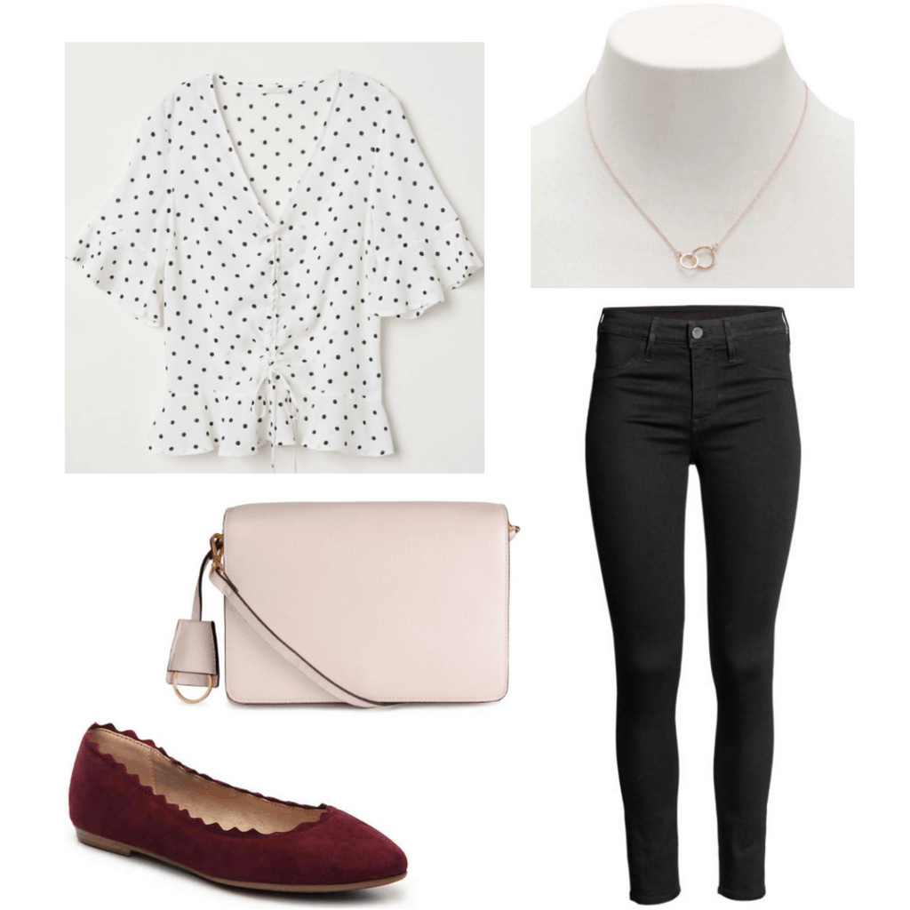 polka dotted top, gold necklace, beige purse, black jeans, burgundy scalloped flats,