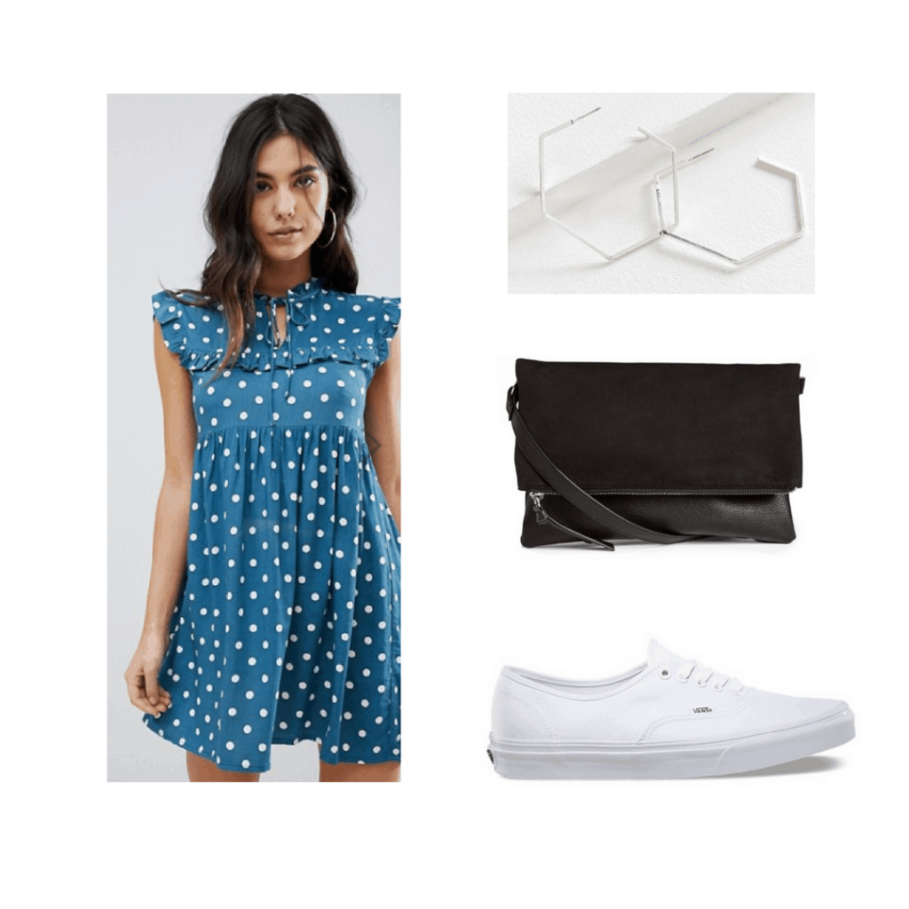 polka dotted dress, with silver earrings, black shoulder bag, and white vans