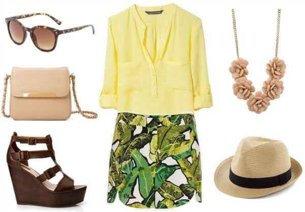 Polynesian Resort Outfit - yellow blouse, leaf print shorts, wedges