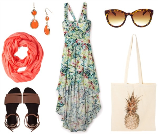 Polynesian Resort Outfit - tropical flower print dress, sandals, scarf