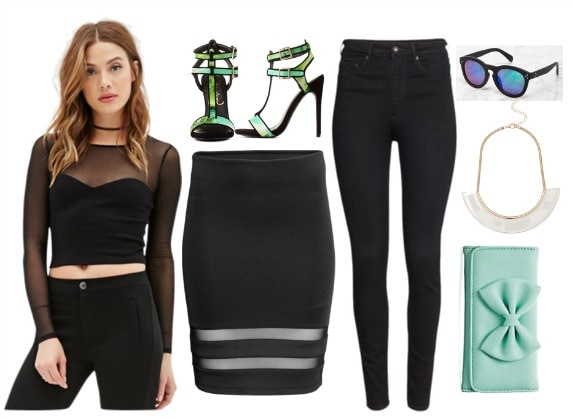 black mesh top outfit