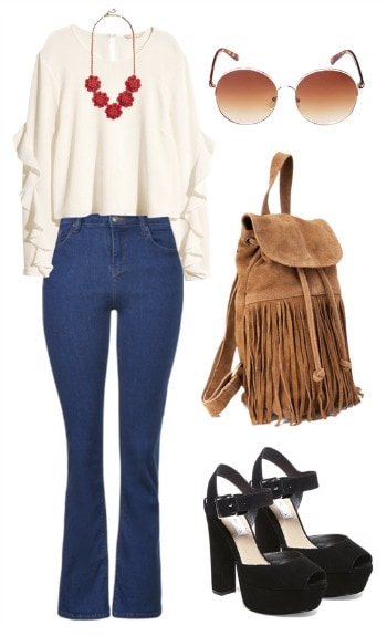 Boho Flared Jeans Look