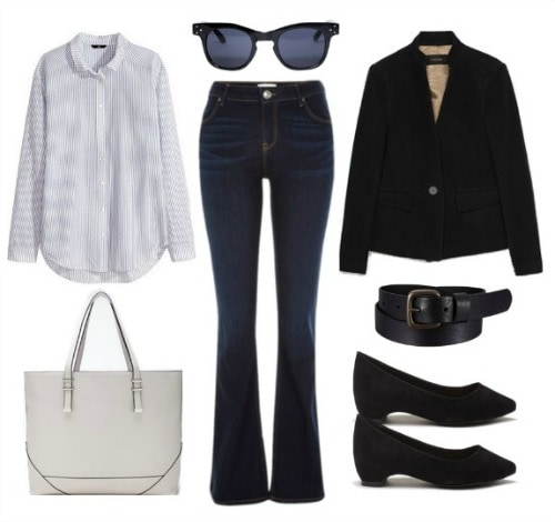 Business Casual Flared Jeans Look