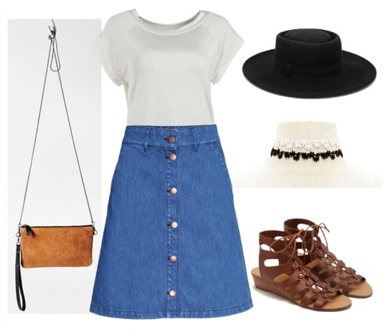 Polyvore button-down denim skirt outfit