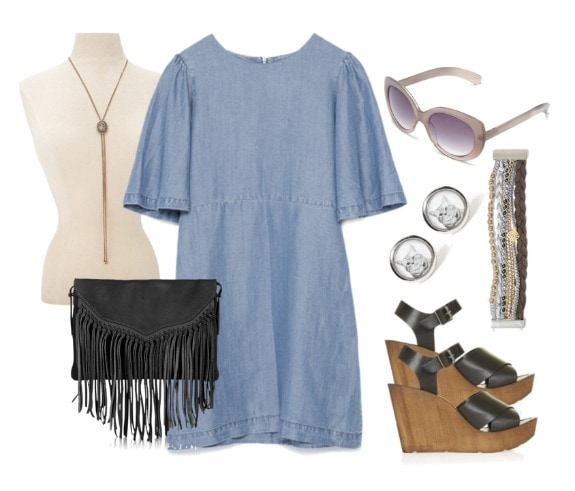 denim dress wooden wedges outfit