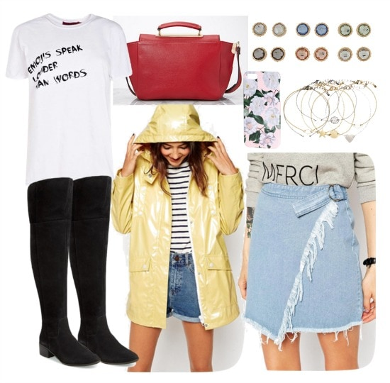 Polyvore distressed denim skirt outfit