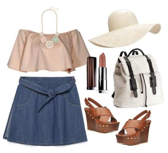Polyvore girly denim skirt outfit