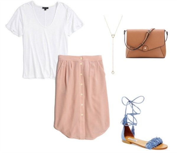 Pink Skirt, T-shirt, Lace up shoes, Bag