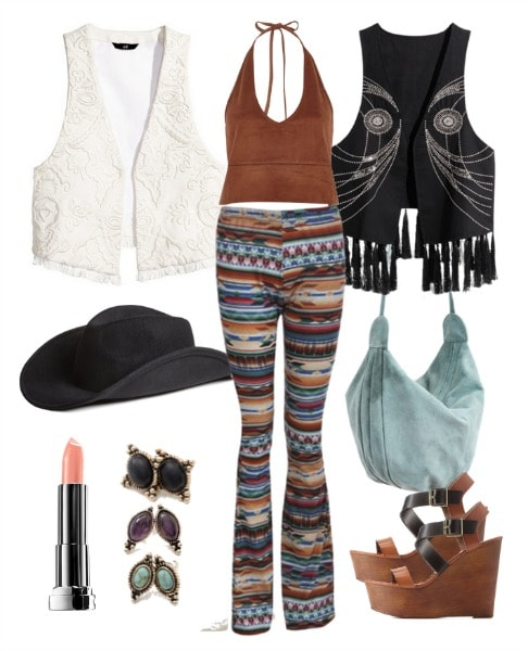 western wooden wedge outfit