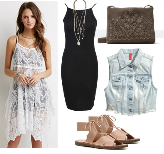 white mesh and lace dress outfit