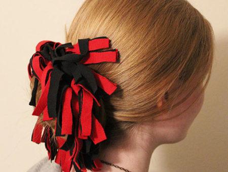 DIY Pom-Pom Hair Tie for Game Day