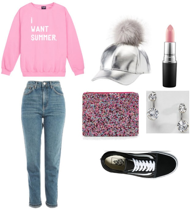 Metallic pom pom hat with light pink sweater, denim mom jeans, glitter clutch, black vans, silver earrings, and pink lipstick.