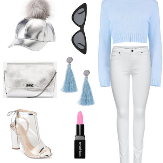 metallic pom pom cap with light blue crop sweater, white denim jeans, light blue earrings, pink lipstick, black cat eye sunglasses, metallic purse, and clear open toe heels.