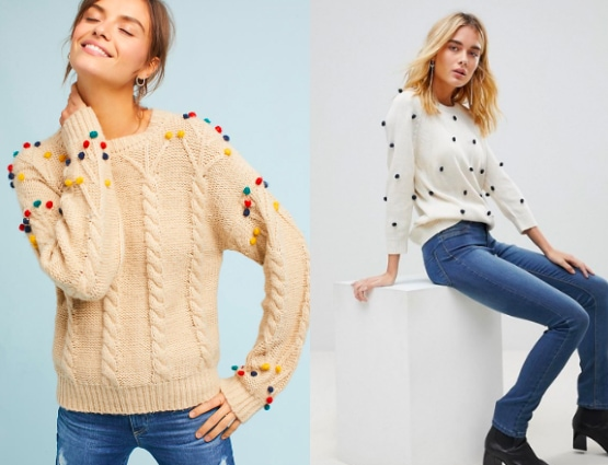 Pom pom sweater trend from left to right: tan pom pom cableknit sweater with rainbow pom poms from Anthropologie and a white sweater with small black pom poms from ASOS.
