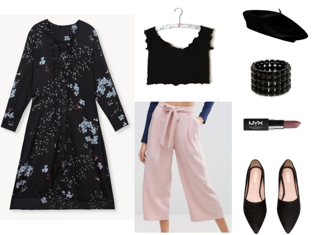 Outfit including Pomelo glitter floral midi top.