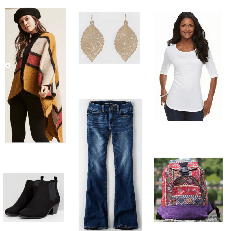 Outfit with poncho, white tee, flared jeans, black ankle boots, leaf earrings, and printed backpack
