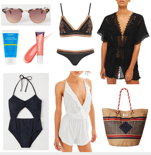 pink shades, sunscreen, lip balm, one piece, white coverup, crochet bikini, black coverup, tote bag