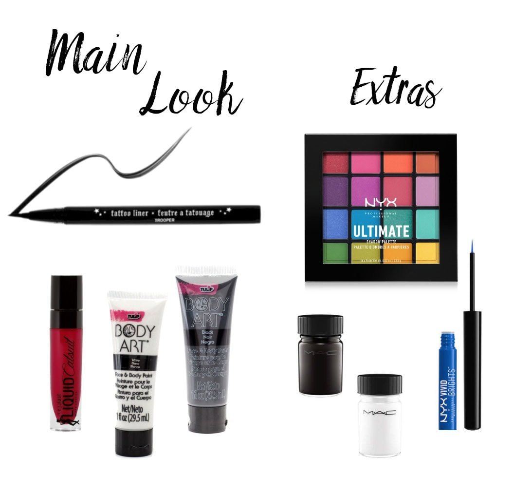 How to do pop art makeup for Halloween: Liquid eyeliner, white face paint, bright colors