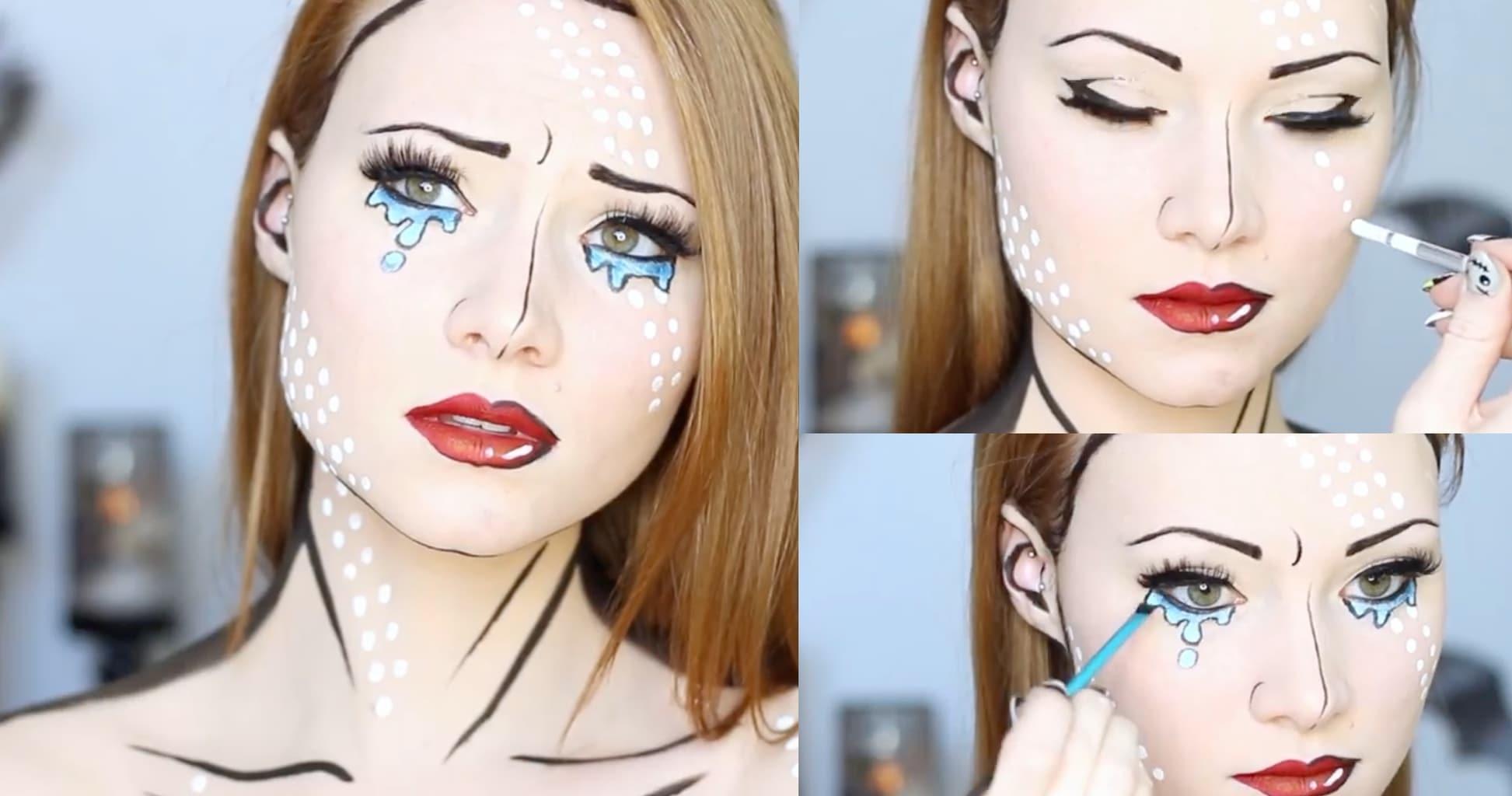 Easy Halloween makeup ideas: Pop art makeup with tears