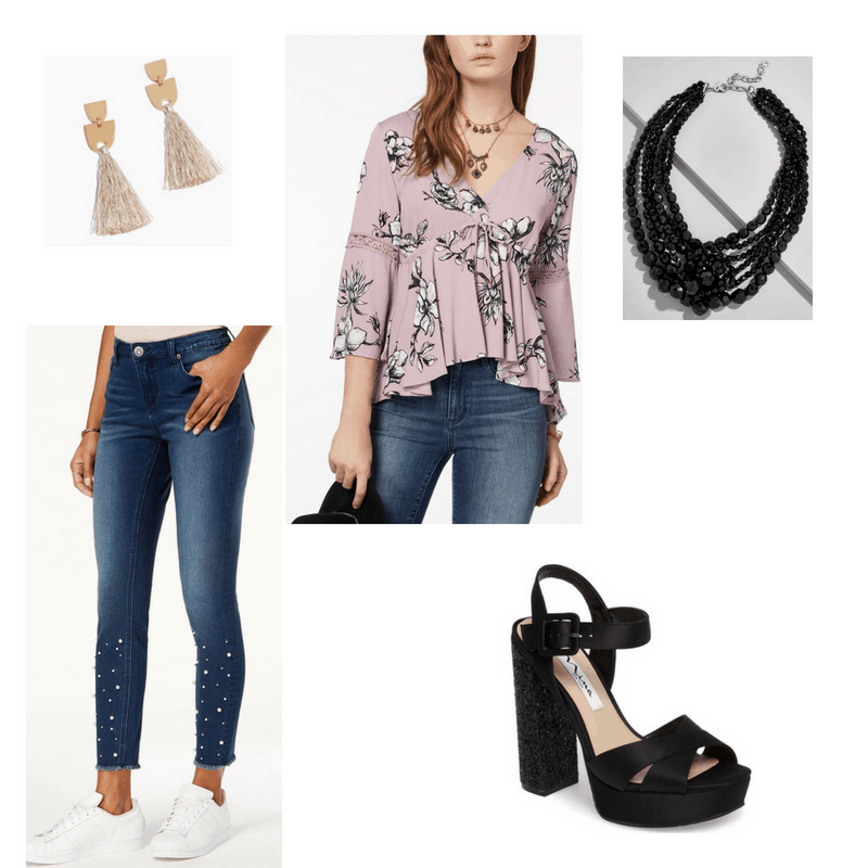 Pop Music Inspired Outfit with printed top, embellished jeans, black necklace, tassel earrings, and black heels