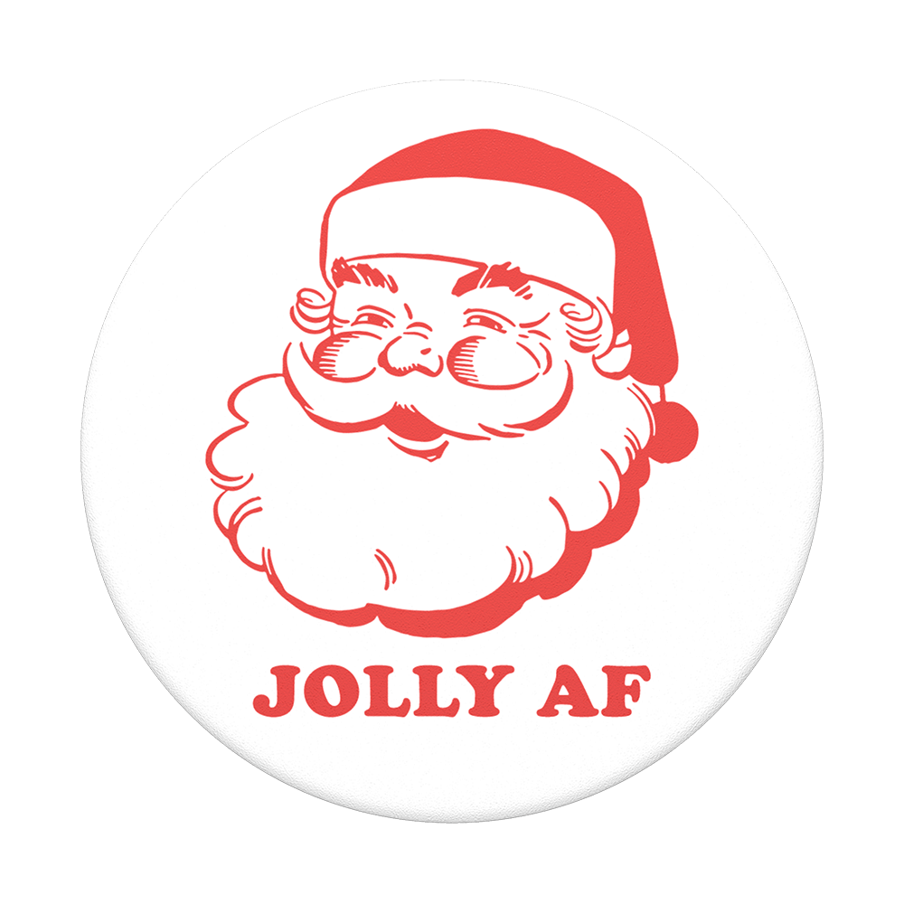 Popsocket of red santa with phrase jolly af under it